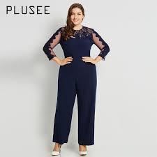 plus size womens jumpsuits plusee jumpsuit plus size 3xl 4xl 2017 navy casual slim
