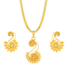 gold pendant necklace set images Floral gold tanishq pendant set gold pendants sets online jpg