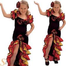 Spanish Dancer Halloween Costume Girls Rumba Spanish Flamenco Dancer Party Salsa Kids Fancy Dress