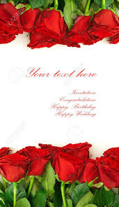 Red Invitation Cards Template For The Invitation Cards With Red Roses Stock Photo