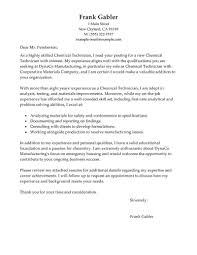 Electronic Technician Cover Letter Best Chemical Technicians Cover Letter Examples Livecareer