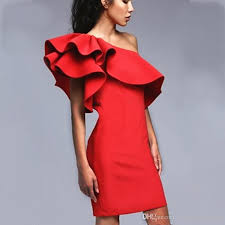 one shoulder ruffles sheath red evening dress 2017 sale real