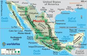 mexico on map mexico maps mexico map of mexico landforms of mexico