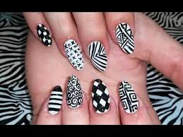 acrylic nails l mix u0027n u0027 match black u0026 white l nail design youtube