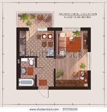 floor plan bedroom architectural color floor plan bedroom apartment stock vector