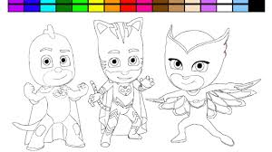 learn colors pj mask coloring page video learning game for kids