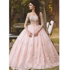 pink long sleeve prom dresses ball gown lace appliqued bow sheer