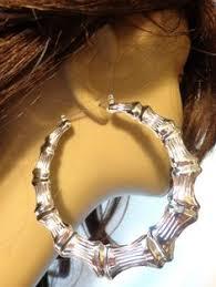 80s hoop earrings 14k gold overlay 4 inch big size hoop bamboo earrings