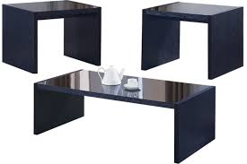 opaque black glass top table set coaster table 700574 the