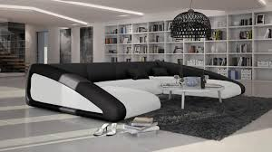canap design noir et blanc canape angle droit panoramique design assise blanc dos noir