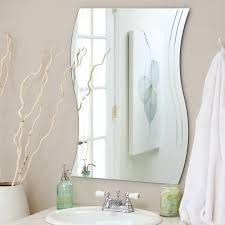 frameless beveled rectangular wall mirror frameless bathroom