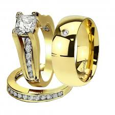wedding bands sets his and hers his hers 3 pcs gold plated men s cz matching band women s