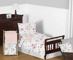 jojo shabby chic pink watercolor floral toddler bedding