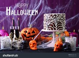 halloween spider web cake happy halloween party table chocolate spider stock photo 488811463