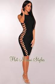 cut out dress black bandage gold button cut out sides dress
