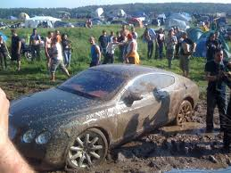 mudding cars ouch bentley continental gt bogged down in mud bath with video