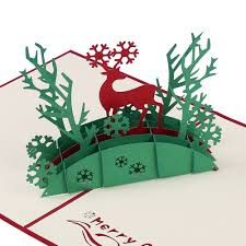 amazon com 3d christmas gift greeting cards papercraft cute 7