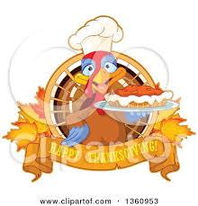 clipart of a chef turkey bird holding a thanksgiving pumpkin