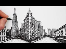 learn a simple way to draw a city street in one point perspective