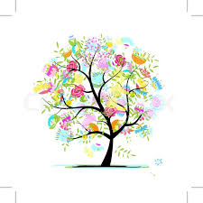 sketch of floral tree for your design stock vector colourbox