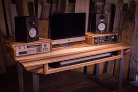 Music Studio Desk Workstation by Hand Crafted Studio Desk For Audio Video Production W Keyboard