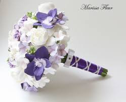 a touch of beauty purple orchid hydrangea and gardenia bouquets
