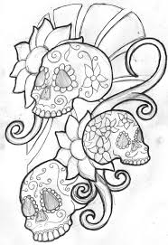 mexican skull and flowers tattoo design photos pictures and