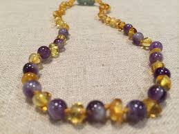 necklace baby images Polished lemon amethyst baltic amber necklace for newborn baby infant jpg