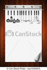 cahier cuisine vide ustensiles cahier cuisine bois menu recettes clipart