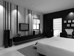black wall with glass windows and curtains feat leather bed