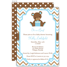 Baby Blue And Brown Baby Shower Decorations Chevron Teddy Bear Blue Baby Shower Invitation Shower
