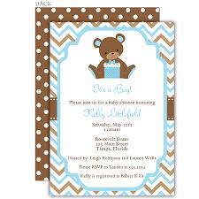 chevron teddy bear blue baby shower invitation shower