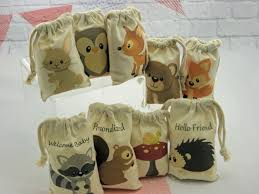 muslin bags forest woodland animals favor baby shower or birthday