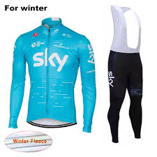 winter cycling coat 2017 sky team thermal fleece bicycle clothing winter set long