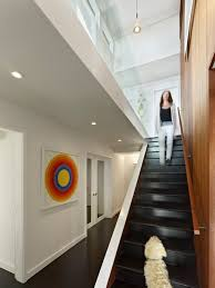 finished basement staircase railings staircase midcentury with