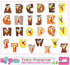 thanksgiving turkey letters monogram azalphabet by fancymonogram