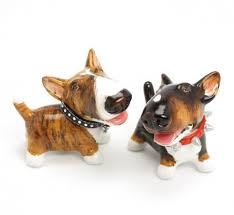 brindle bull terrier ceramic figurine ornament salt pepper shaker