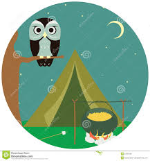 camping wooden with tent and owl royalty free stock images