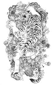 black and white japanese tiger on flowered water background tattoo