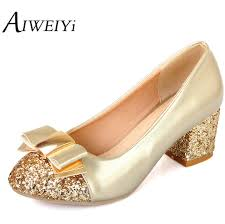 gold shoes for wedding aliexpress buy aiweiyi plus size 34 43 2017 pumps