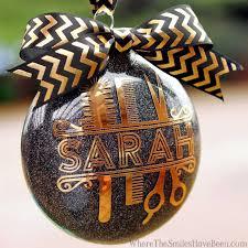 personalized glitter hair stylist ornament
