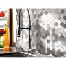 Self Stick Wallpaper by Self Adhesive Metal Mosaic 10 Pcs Hexagon Peel N Stick Tiles 12x12in