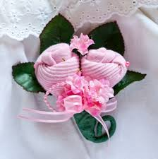 how to make a baby shower corsage baby sock corsages baby sock roses baby shower corsage