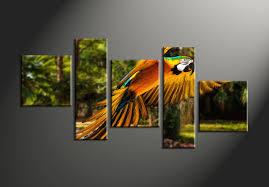 5 piece forest colorful parrot multi panel canvas