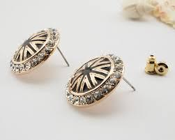 big stud earrings big black flag rhinestone button stud earrings wholesale