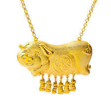 gold mother pendant necklace images Bridal jewelry yellow gold filled 6pcs pig baby and pig mother jpg