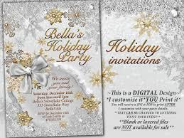 gold silver snowflake invitation winter wonderland party