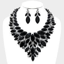 black necklace images Marquise bib necklace and earring set focused fashions jpg