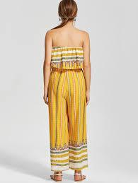 strapless wide leg jumpsuit 215800003 print ruffle strapless wide leg jumpsuit yellow