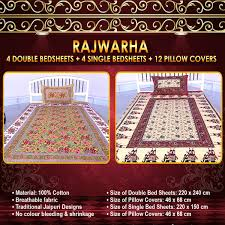 Buy Double Bed Sheets Online India Buy Rajwarha 4 Double U0026 4 Single Bedsheets With 12 Pillow Covers
